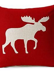 veados bege de algodão vermelho / linho fronha decorativo