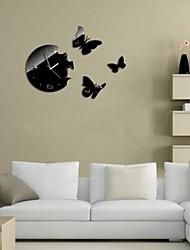 Wall Clock adesivos adesivos de parede, borboletas design moderno espelho acrílico adesivos de parede