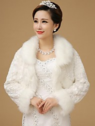 Fur Wraps / Wedding  Wraps / Fur Coats Coats/Jackets Long Sleeve Faux Fur White Wedding Feathers / fur