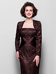 Women's Wrap Shrugs Long Sleeve Lace / Stretch Satin Chocolate Wedding / Party/Evening Wide collar Beading  Open Front