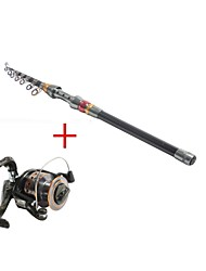Telespin Rod / Fishing Rod + Reel / Fishing Rod Telespin Rod Carbon 270 M Sea Fishing Rod & Reel Combos Black