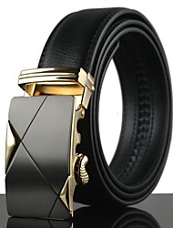 Men's Fashion Simple Alloy Automatic Buckle Business Leather Belt