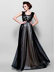 Formal Evening Dress A-line Square Floor-length Tulle with Appliques / Beading