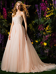 Lanting Ball Gown Wedding Dress - Pearl Pink Court Train Strapless Tulle