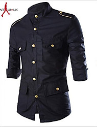 MANWAN WALK®Men's Casual Slim Three Quarter Sleeve Shirt with Golden Shoulder Board.