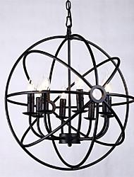 hierro colgante de luz 8 luces estilo rural forjado