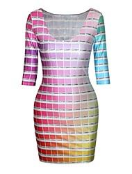 vestido estampado cuadriculado media manga de poliéster de las mujeres pinkqueen®