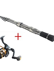 Telespin Rod / Fishing Rod + Reel / Fishing Rod Telespin Rod Carbon 216 M Sea Fishing Rod & Reel Combos Silver