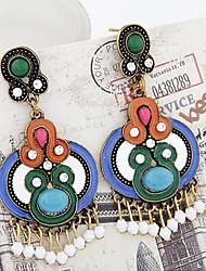 Европейский стиль мода цвет блокировки дикий богемный капель воды серьги