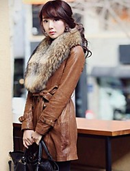 Women Fox Fur/Raccoon Fur Top , Belt Included/Lined/Removable Fur Collar