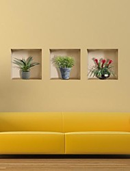 3D Lattice Pot Wall Stickers Wall Decals