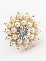 perles magnifiques des femmes ouvrent fleurs anneau de déclaration en forme de perles