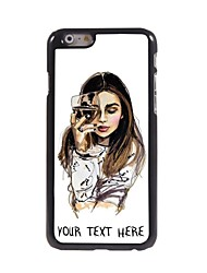 Personalized Phone Case - The Girl With Wine Glass Design Metal Case for iPhone 6