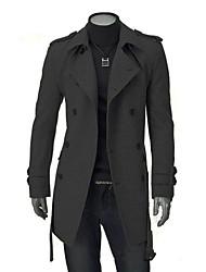 ZJ.SM Men's Fashio Long Sleeve Solid Color Coat
