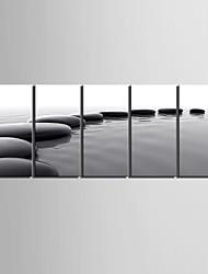 E-Home® Leinwand Kunst Anordnung der schwarzen Stein dekorative Malerei Set von 5