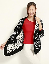JoanneKitten Women's Turndown Collar Zebra Print Long Sleeve Knitted Overcoat