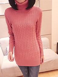 cuello de tortuga de color rayas sólidas de las mujeres delgado suéter