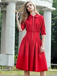 mishow®women regulären fallendem Revers Reißverschluss Design 5 Minuten des Hülse dünnen roten Wollkleid