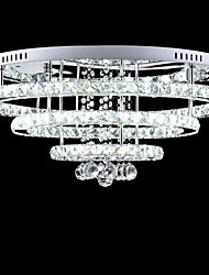 Hall Hotel LED Crystal Pendant Lights 300mm/500mm/700mm Stainless Steel with Remote Control One Light Two Style