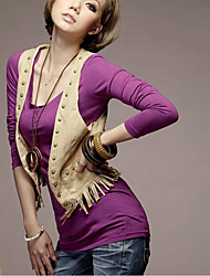 Fashion V-Neck Long Sleeve Blouse Purple