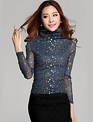 Women's Solid Blue/Black Blouse , Casual Turtleneck Long Sleeve Sequins