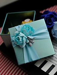 Blue Flowers With Light Blue Ribbon Tin Wedding Box-Set Of 12