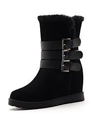 Zapatos de mujer - Tacón Cuña - Botas de Nieve / Punta Redonda - Botas - Vestido - Ante Sintético - Negro / Marrón