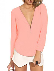 Fashion Long Sleeve V Neck Solid Color Shirt