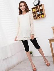 Maternity and Pregnant Women Hollow out Sleeve Peter Pan Collar Lace Blouse Top