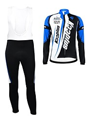 KOOPLUS® Cycling Jersey with Bib Tights Women's / Men's / Unisex Long Sleeve BikeBreathable / Waterproof Zipper / Wearable / Reflective