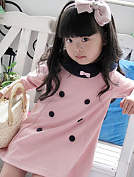 Fashion Bowknot Embellished Buttons Cotton Dress Pink