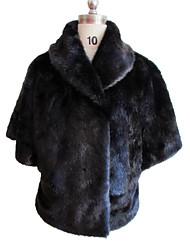 Fur Jacket Half Sleeve Shawl Faux Mink Rabbit Fur Special Occasion/Casual Coat