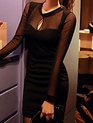 gasa cuello redondo vestido delgado de Jansa ™ mujeres