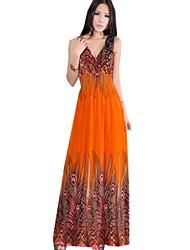 Women's Halter Mid Waist Flora Print Vest Maxi Dress