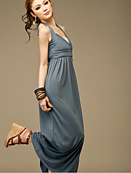 Graceful Fine Quality Hang-neck Pure Color Long Dress Gray&Blue