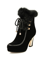 Francis Cat Women's Fashion Rabbit Fur Shoelace High Heel Short Boots 44-21-2