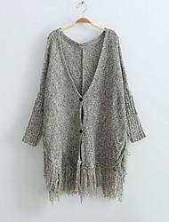 capa das mulheres v pescoço manga borla individuais cardigan sweaters seios
