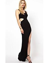 Women's U Neck Plus Size Dress , Others Maxi Sleeveless