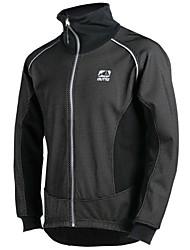 OUTTO Men's Bike Jacket Fleece Winter Warm Waterproof Reflective Thermal Black Cycling Jacket Zipper Plus Size