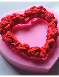 herzförmige Liebe Kranz Fondantkuchen Silikonform Kuchen Dekorationswerkzeuge, l7.2cm * w7.1cm * h1.4cm