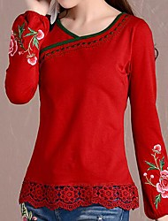 Women's Floral Blue/Red/Black/Yellow T-shirt , Surplice Neck Long Sleeve Embroidery