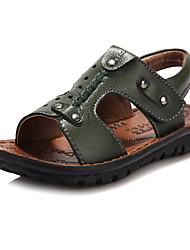 Sandales (Bleu/Vert) - Cuir - Glissez/Confort/Bout ouvert