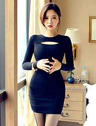 Women's Solid Black Dress , Sexy/Bodycon/Party Crew Neck Long Sleeve