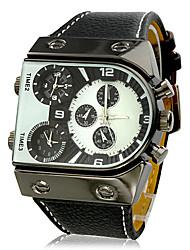 Herren Militäruhr Armbanduhr Quartz Japanischer Quartz Drei-Zeit-Zonen PU Band Schwarz Marke V6