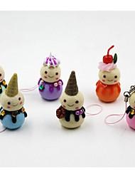 6pcs navidad muñeco de nieve colgantes teléfono móvil adornos del árbol de navidad