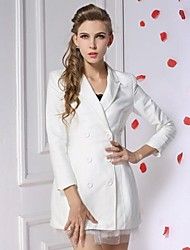 Women's White Casual Trench Coat  Long Sleeve  Outwears