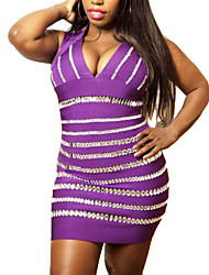 Women's Crystals Embellished Purple Bandage Dress