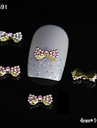 10pcs Fashion Gold Alloy Bow Tie 3D Nail Tips Rhinestone DIY Nail Art Decoration