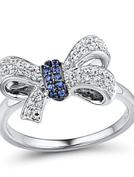 Fashion (Butterfly Shape) Sterling Silver Platinum-Plated with Created Tanzanite & Cubic Zirconia Women's Ring