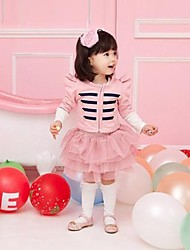 Girl's Solid Clothing Set,Cotton Winter / Spring / Fall Pink / Gray